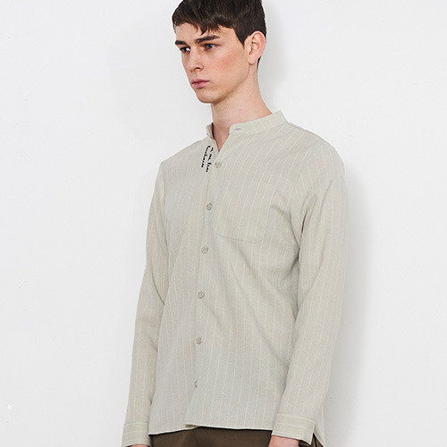 16SS_C_ EMBROIDERED STRIPE SHIRT (beige)