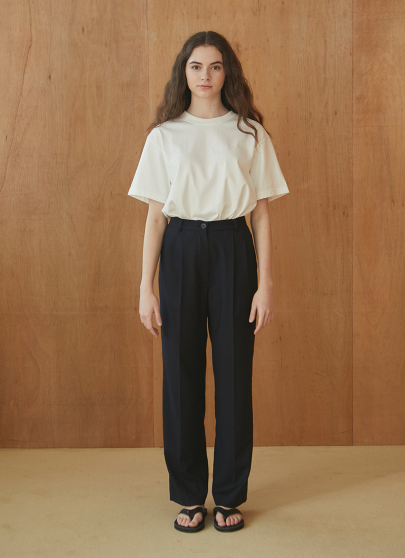 DOUBLE PLEATED WOOL TROUSERS (NAVY)