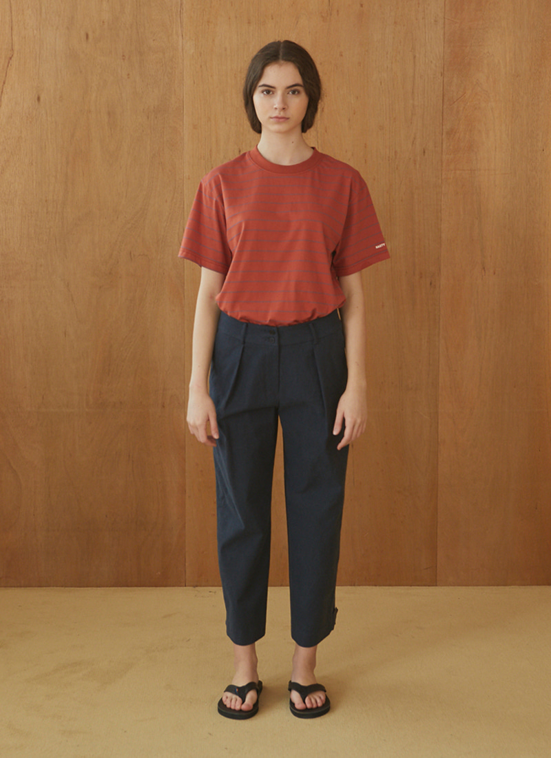 PLEATED COTTON CHINO PANTS