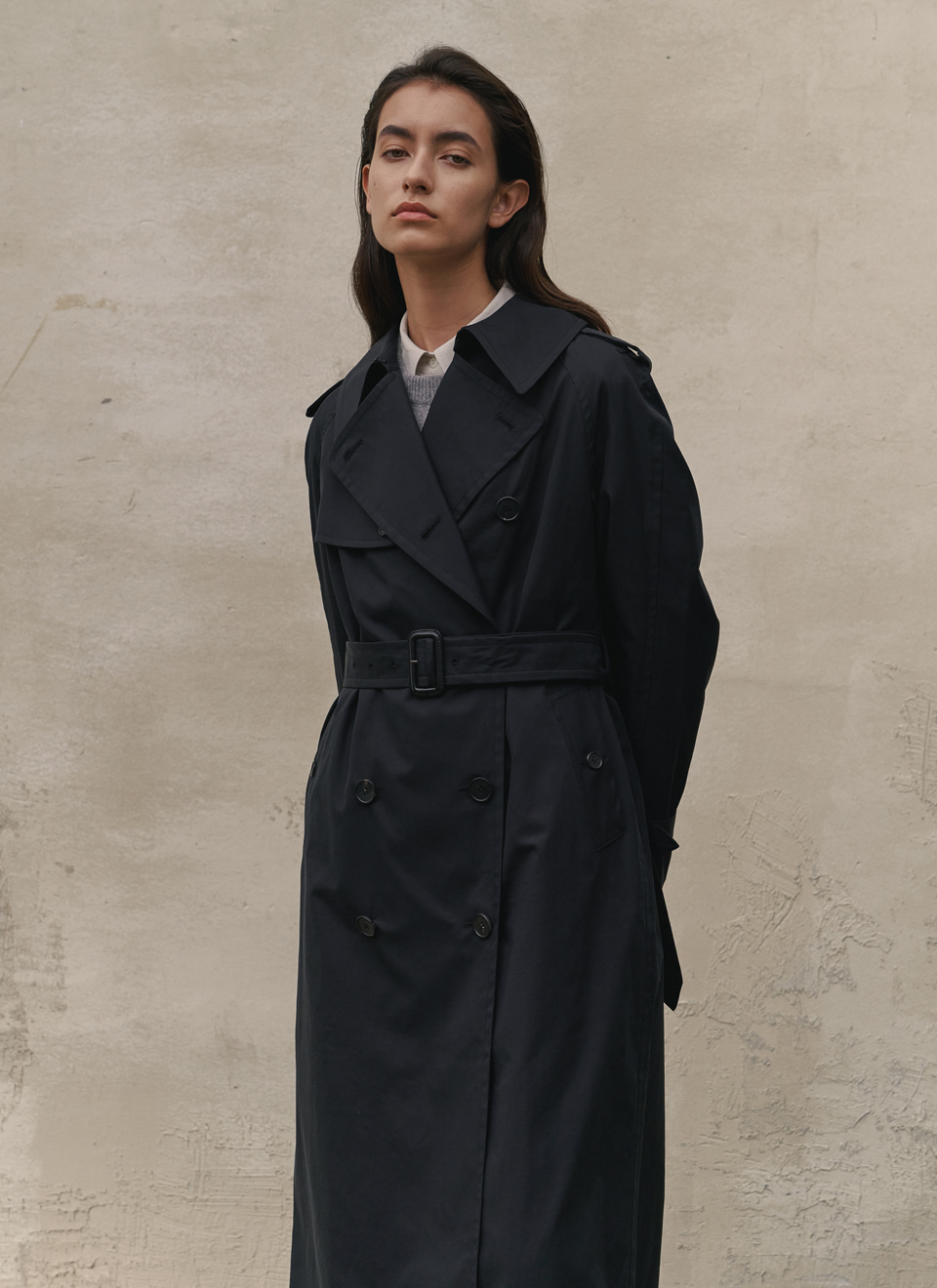20 A/W LONG TRENCH COAT BLACK